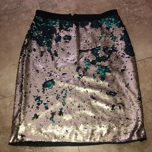 Mark Gold and Teal Sequin Skirt Small